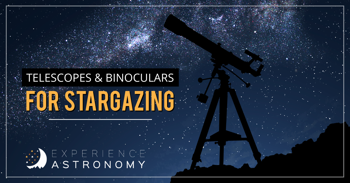 graphic with a telescope in front of a starry sky that says 'telescopes and binoculars for stargazing' in yellow letters